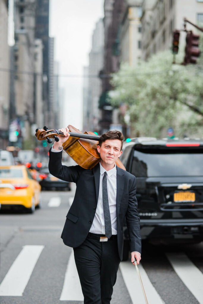 New York Virtuosi Cellist Samuel on 5th Ave in New York City